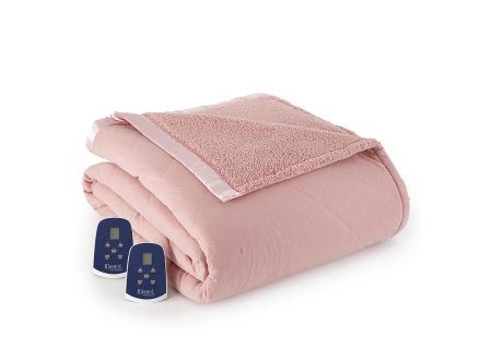 Shavel Micro Flannel Reverse To Sherpa Queen Frosted Rose Electric Heated Blanket - EBSHQNFRO