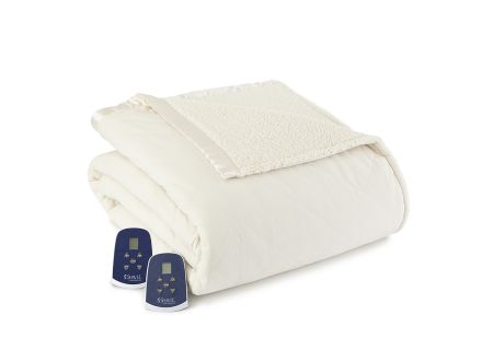 Shavel Micro Flannel Reverse To Sherpa Queen Ivory Electric Heated Blanket - EBSHQNIVY