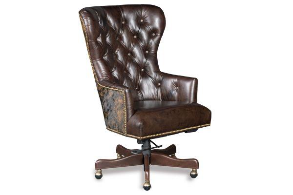Large image of Hooker Furniture Kingston Eden Brown Leather Katherine Home Office Chair - EC448-087