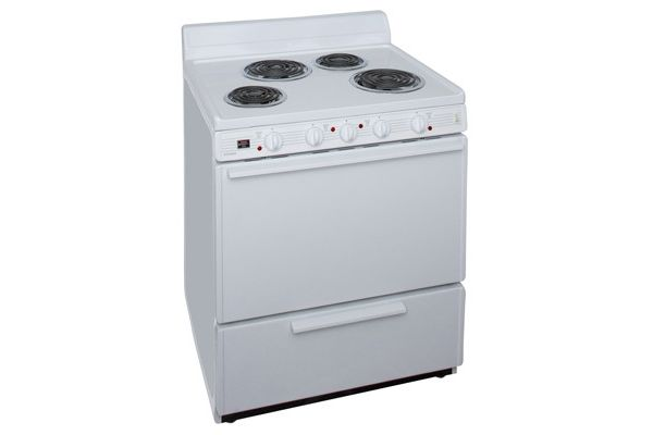 "Large image of Premier 30"" White Electric Freestanding Range  - EDKLOHOP"