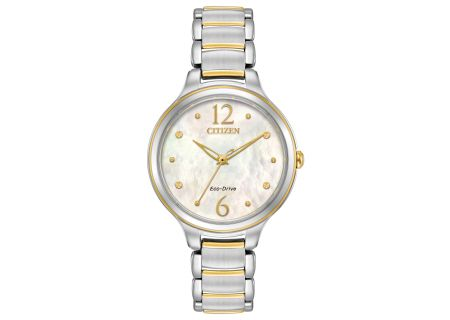 Citizen Eco-Drive L Collection Two Tone Stainless Steel Womens Watch  - EM0554-58N