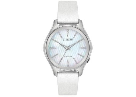 Citizen Eco-Drive Stainless Steel And White Modena Womens Watch  - EM0598-01D