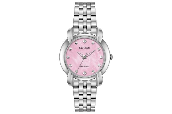 Large image of Citizen Eco-Drive Jolie Silver-Tone Stainless Steel Womens Watch - EM071054Y