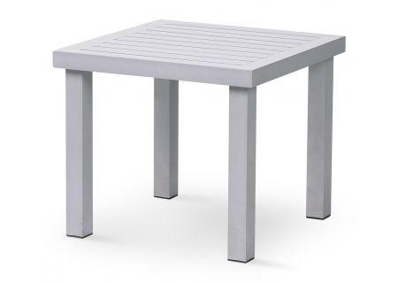 Elements by Castelle Bellevue Collection Platinum Square Slat Side Table - EQT3S22SS0M02