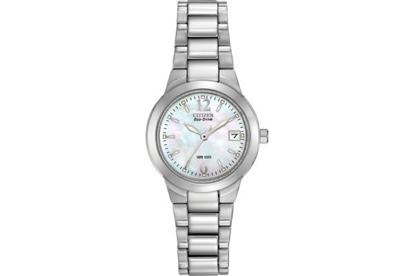 Large image of Citizen Eco-Drive Silhouette Sport Mother Of Pearl Dial Womens Watch - EW1670-59D