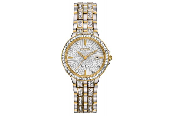 Large image of Citizen Eco-Drive Silhouette Crystal Two-Tone Womens Watch - EW2344-57A