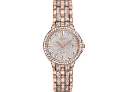 Citizen Eco-Drive Silhouette Crystal Rose Gold Womens Watch  - EW2348-56A