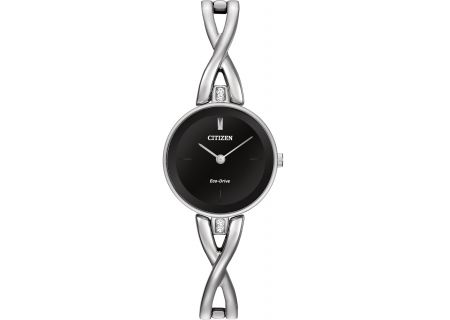 Citizen Eco-Drive Silhouette  Stainless Steel And Black Dial Womens Watch  - EX1420-50E