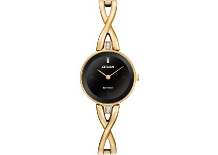 Citizen Eco-Drive Silhouette  Gold And Black Dial Womens Watch  - EX1422-54E