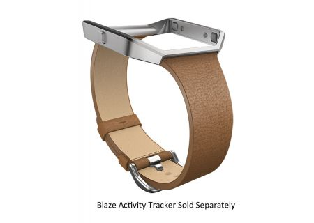 Fitbit Blaze Large Camel Leather Band And Silver Frame - FB159LBSCML
