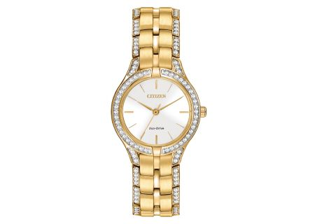 Citizen Eco-Drive Gold Tone Stainless Steel Silhouette Crystal Womens Watch - FE2062-58A