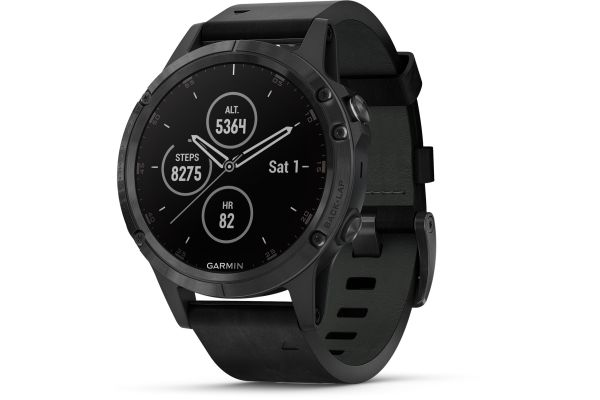 Garmin 47mm Fenix 5 Plus Black With Black Leather Band GPS Multisport Smartwatch - 010-01988-06
