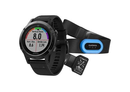 Garmin 47mm Fenix 5 Black Sapphire With Black Band GPS Multisport Performer Bundle - 010-01688-31
