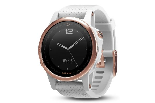 Garmin 42mm Fenix 5S Rose Goldtone Sapphire With White Band GPS Multisport Smartwatch - 010-01685-16