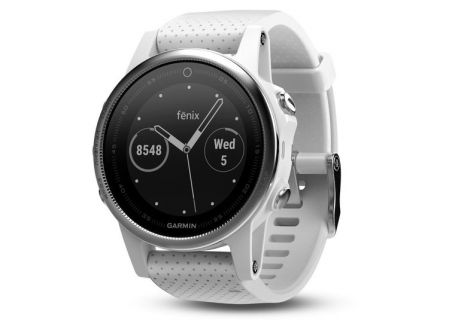 Garmin 42mm Fenix 5S White Carrara Band GPS Running Smartwatch - 010-01685-00