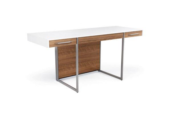Large image of BDI Format 6301 Natural Walnut And Satin White Desk  - FORMAT6301SWWL