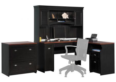 Bush Furniture Fairview Collection Antique Black L-Desk/Hutch/Lateral File - FVW001