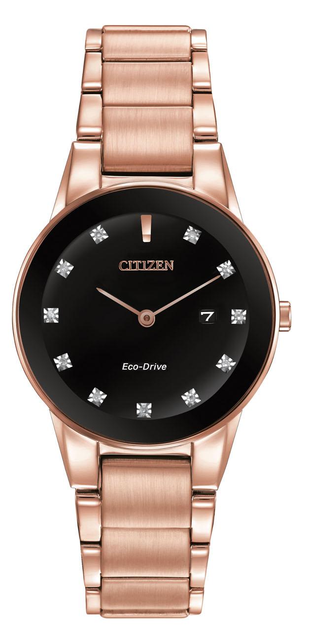 citizen axiom pink gold tone womens ga1058 59q