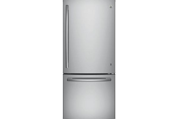 Large image of GE ENERGY STAR 21 Cu. Ft. Stainless Steel Bottom Freezer Refrigerator - GBE21DSKSS
