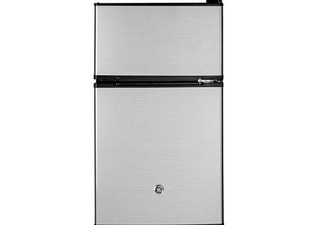 GE CleanSteel Double-Door Compact Refrigerator - GDE03GLKLB