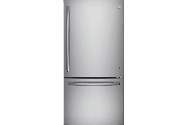 Large image of GE ENERGY STAR 24.8 Cu. Ft. Stainless Steel Bottom Freezer Refrigerator - GDE25ESKSS