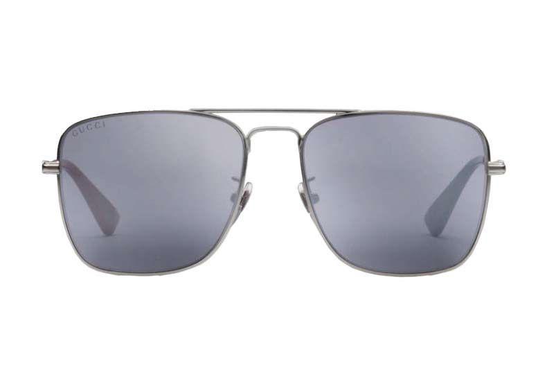 76e302042d Gucci Dark Ruthenium Metal Square-Frame Mens Sunglasses - GG0108S 005 55
