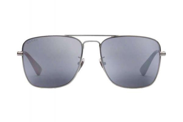 Gucci Dark Ruthenium Metal Square-Frame Mens Sunglasses - GG0108S 005 55