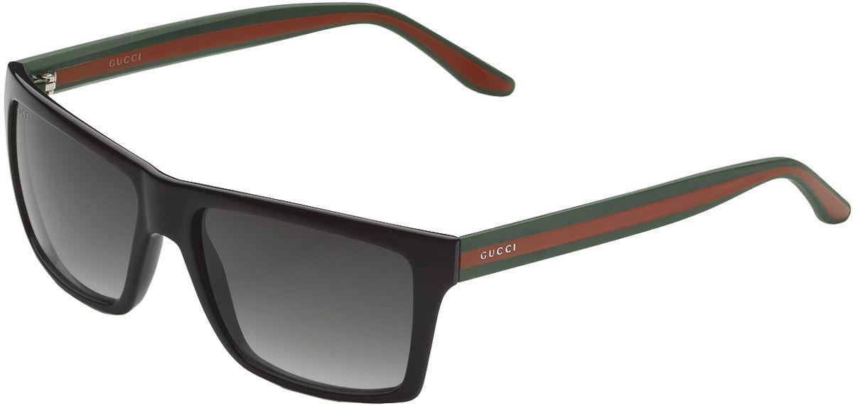 Gucci Frames For Mens Glasses : Gucci Mens Black Rectangle Sunglasses - 298594 J1691 1015