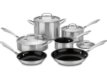Cuisinart 10-Piece Stainless Steel GreenGourmet Tri-Ply Cookware Set  - GGT-10