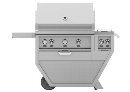 """Hestan 36"""" Stainless Steel Deluxe Liquid Propane Gas Grill With Double Side Burner - GMBR36CX2-LP"""