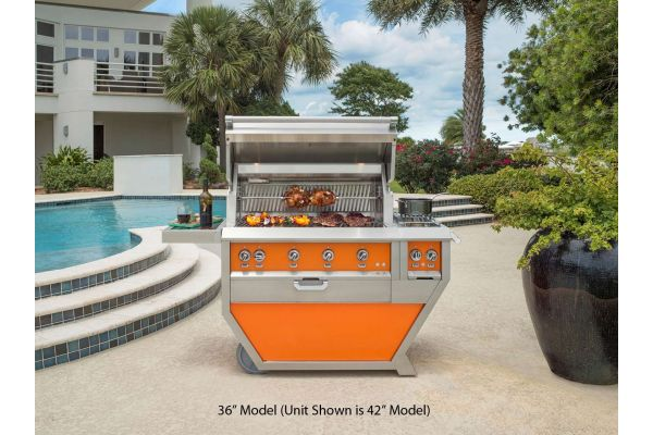 """Hestan 36"""" Citra Orange Deluxe Natural Gas Grill With Double Side Burner  - GMBR36CX2-NG-OR"""