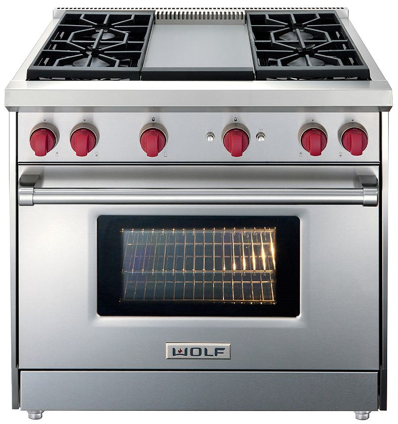 Wolf 36 Stainless Steel Gas Range With Infrared Griddle Gr364g