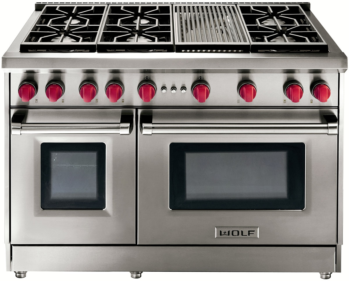 Wolf 48 Stainless Steel Gas Range With Charbroiler Gr486c