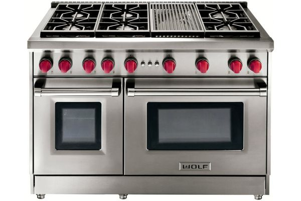 "Wolf 48"" Stainless Steel Liquid Propane Gas Range With Charbroiler - GR486CLP"