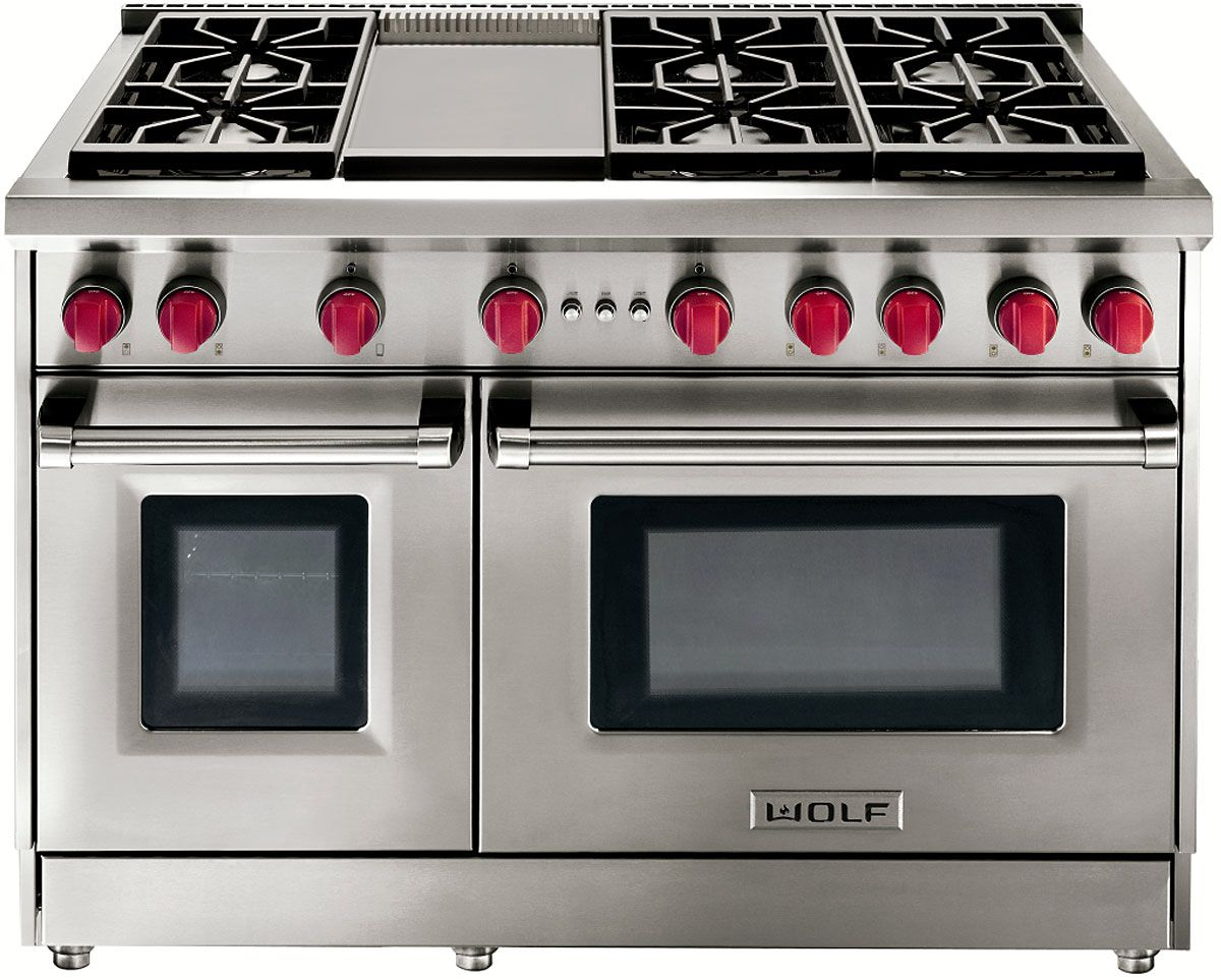 Wolf 48 stainless steel gas range with griddle gr486g for Estufa profesional