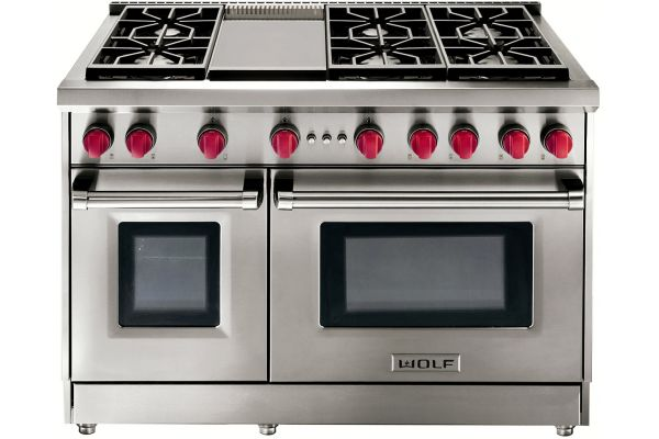 """Wolf 48"""" Stainless Steel Liquid Propane Gas Range With Griddle - GR486GLP"""