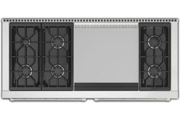 """Wolf 60"""" Stainless Steel Gas Range With Dual Griddle - GR606DG"""