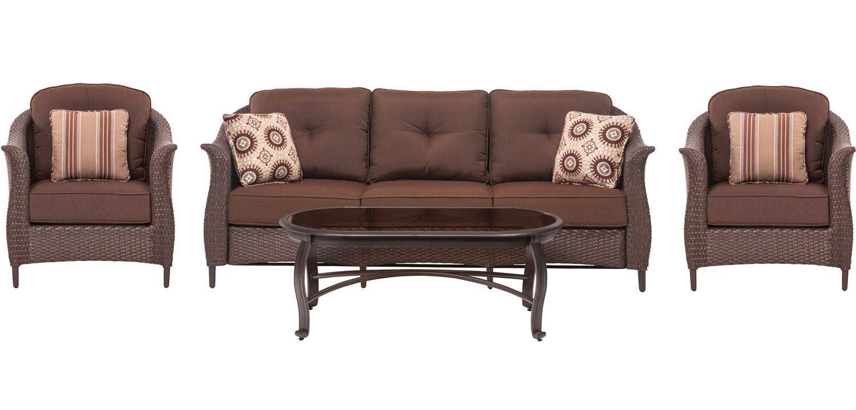 Hanover 4 piece wicker patio set gramercy4pc brn for Outdoor furniture big w