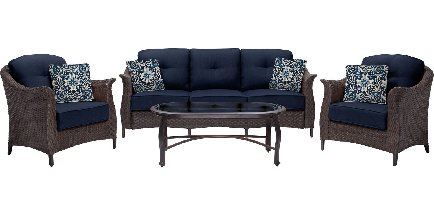 Hanover gramercy blue 4 piece patio set gramercy4pc nvy for Outdoor furniture big w