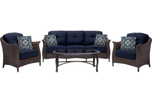 Hanover Gramercy Navy Blue 4-Piece Lounge Wicker Patio Set  - GRAMERCY4PC-NVY