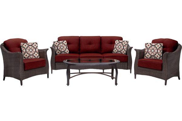 Hanover Gramercy Crimson Red 4-Piece Lounge Wicker Patio Set  - GRAMERCY4PC-RED