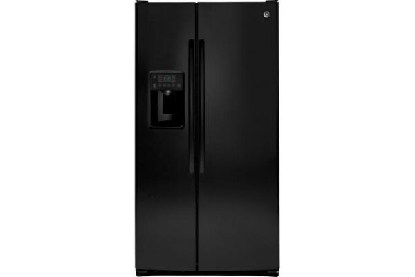Large image of GE 25.3 Cu. Ft. Black Side-By-Side Refrigerator - GSS25GGHBB