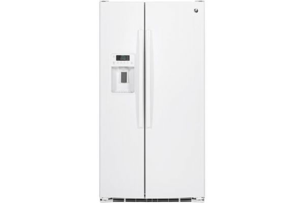 Large image of GE 25.3 Cu. Ft. White Side-By-Side Refrigerator - GSS25GGHWW