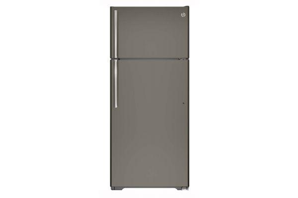 Large image of GE Slate 17.5 Cu.Ft Top-Freezer Refrigerator - GTE18GMHES