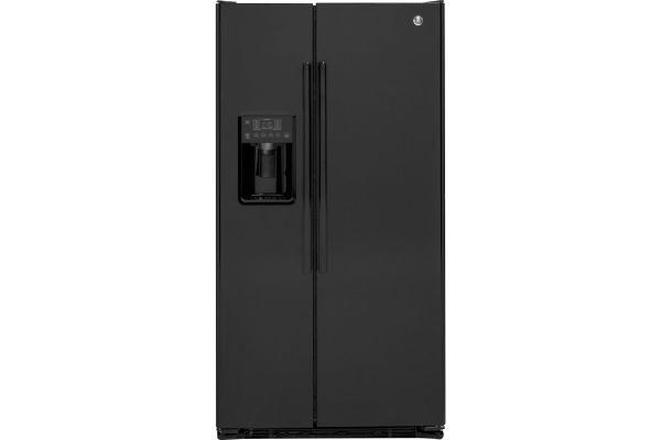Large image of GE 21.9 Cu. Ft. Black Counter Depth Side-By-Side Refrigerator - GZS22DGJBB