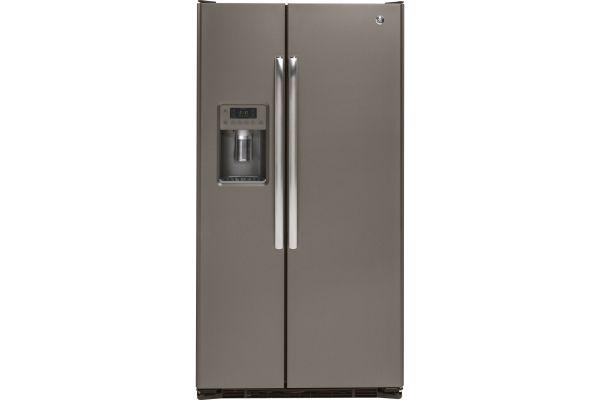GE 21.9 Cu. Ft. Slate Counter Depth Side-By-Side Refrigerator - GZS22DMJES