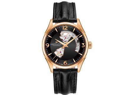 Hamilton Jazzmaster Open Heart Auto Gold Black Leather Mens Watch  - H32735731
