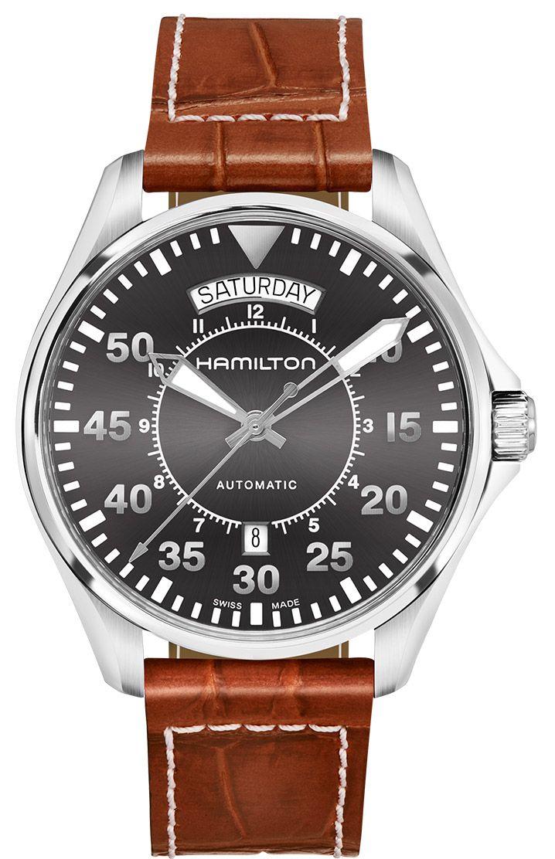 995840cdc77 Hamilton 42mm Khaki Aviation Pilot Day Date Auto Mens Watch - H64615585