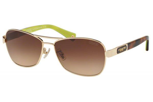 Large image of Coach Caroline Gold Tortoise Aviator Womens Sunglasses - HC7012 910013 56