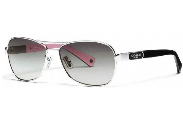 Coach Caroline Silver Black Aviator Womens Sunglasses - HC7012 910211